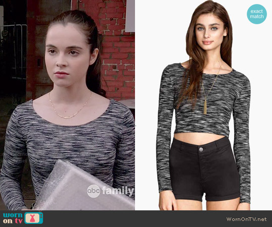 H&M Cropped Top in Black Melange worn by Vanessa Marano on Switched at Birth