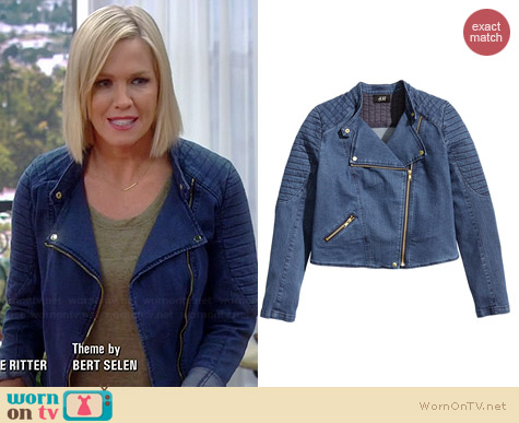H&M Denim Moto Jacket worn by Jennie Garth on Mystery Girls