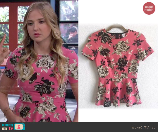 H&M Divided Pink Floral Peplum Top worn by Veronica Dunne on KC Undercover