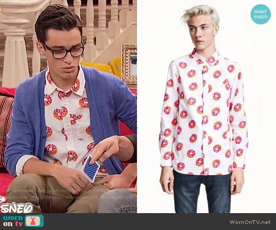 H&M Patterned Cotton Shirt worn by Joey Bragg on Liv & Maddie