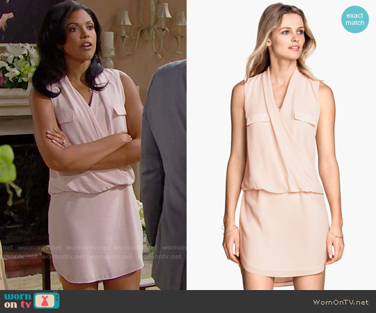 H&M Draped Dress in Powder Pink worn by Karla Mosley on The Bold & the Beautiful