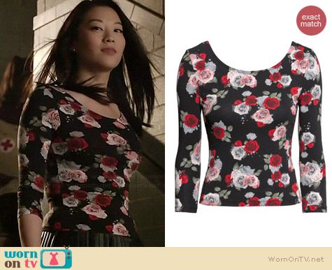 H&M Floral Jersey Top worn by Arden Cho on Teen Wolf