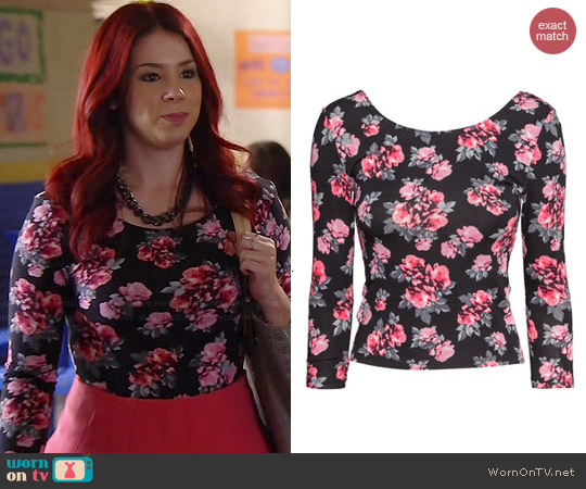 H&M Floral Jersey Top worn by Jillian Rose Reed on Awkward