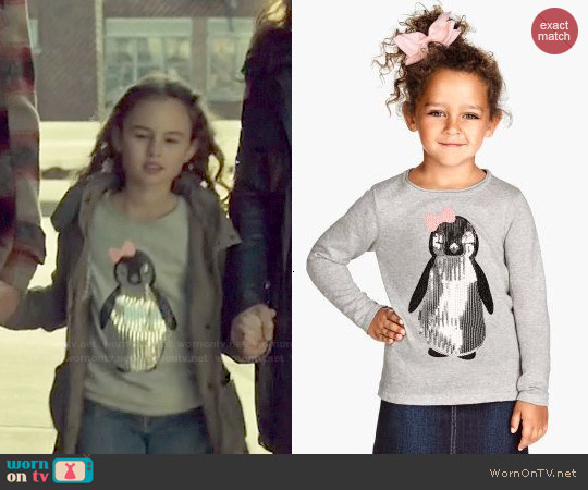 H&M Girls Sequin Penguin Sweater worn by Skyler Wexler on Orphan Black