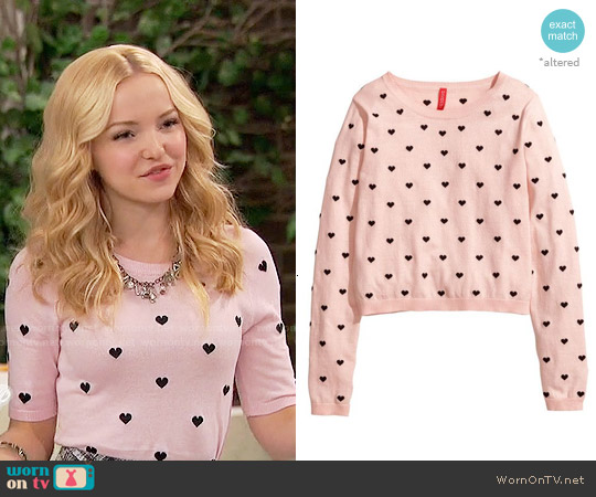 H&M Heart Print Fine Knit Sweater worn by Dove Cameron on Liv & Maddie
