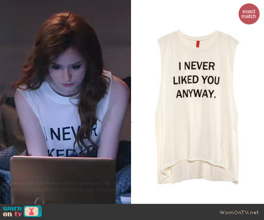 H&M I Never Liked You Anyways Top worn by Karen Gillan on Selfie