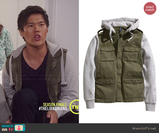 H&M Jacket with a sweatshirt hood worn by John Kim on The Librarians