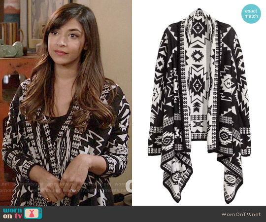 H&M Jacquard-knit Cardigan in Black / Patterned worn by Hannah Simone on New Girl