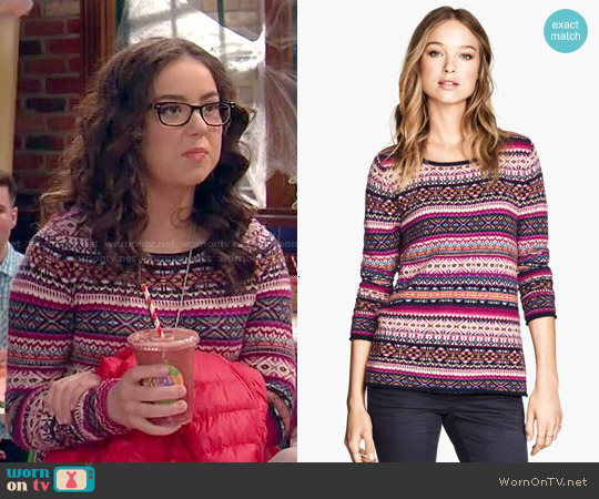 H&M Jacquard Knit Sweater in Dark Pink worn by Sarah Gilman on IDDI