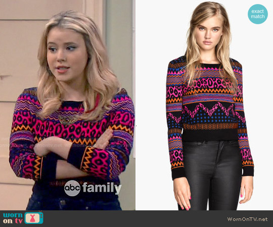 H&M Jacquard Knit Sweater in Cerise / Patterned worn by Taylor Spreitler on Melissa & Joey