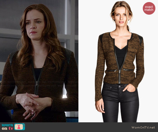 H&M Knit Cardigan in Dark Beige worn by Danielle Panabaker on The Flash