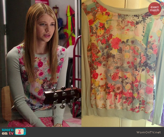 H&M Mint Floral Sweater worn by Sarah Fisher on Degrassi: The Next Generation