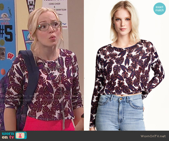 H&M Patterned Sweater in Burgundy/patterned worn by Dove Cameron on Liv & Maddie
