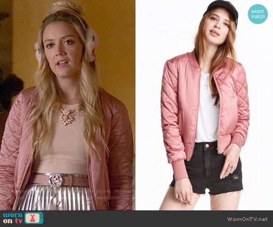 H&M Bomber Jacket in Pink worn by Billie Lourd on Scream Queens