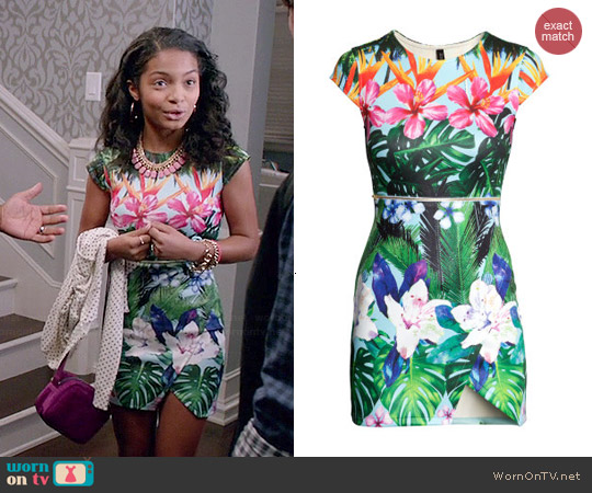 H&M Floral Scuba Dress worn by Yara Shahidi on Black-ish