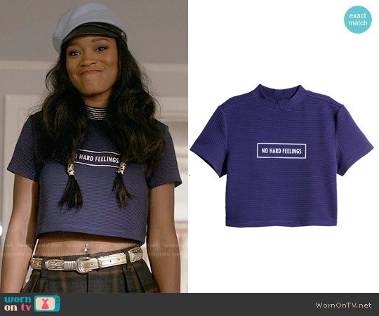 H&M Short T-shirt in Purple worn by Keke Palmer on Scream Queens