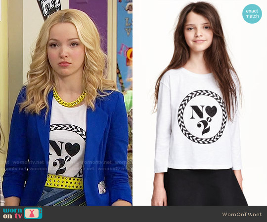 H&M Printed Top worn by Dove Cameron on Liv & Maddie