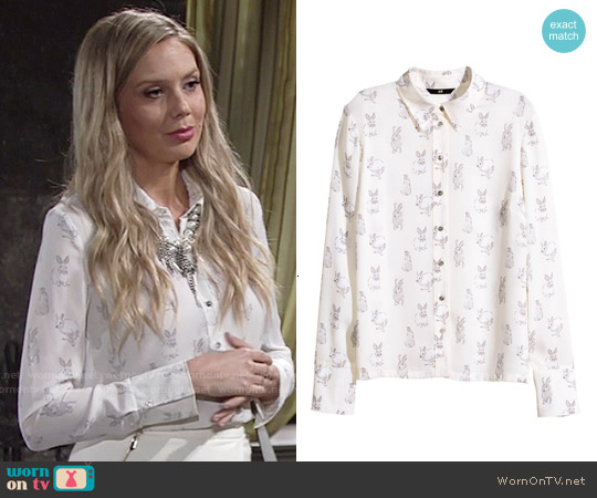 H&M Patterned Shirt in White/Rabbits worn by Melissa Ordway on The Young & the Restless
