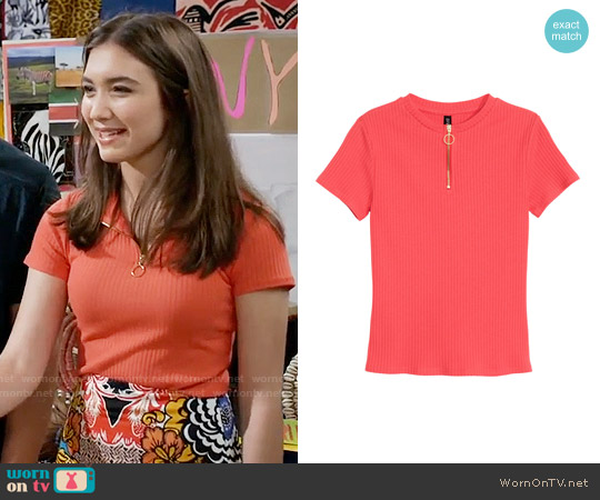 H&M Ribbed Top worn by Riley Matthews on Girl Meets World