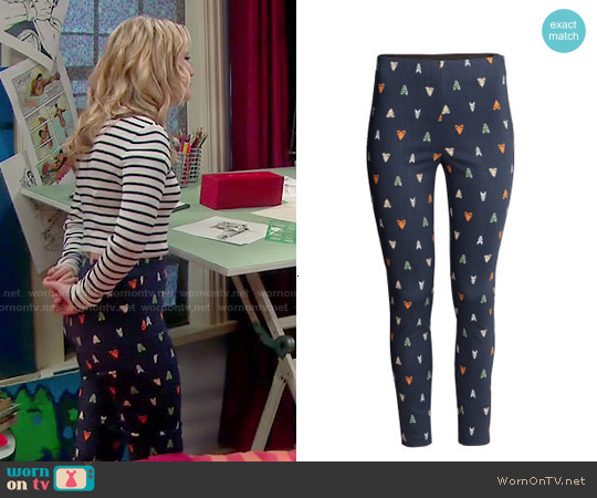 H&M Slim Fit Pants in Moth Print worn by Lennox Scanlon on Melissa & Joey