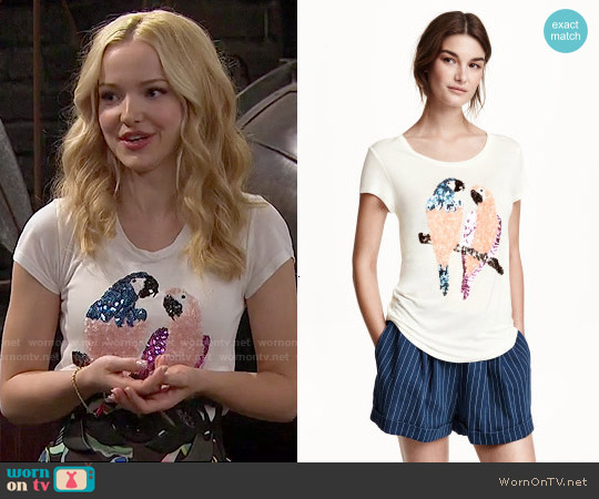 H&M Top with Sequins in White / Parrots worn by Dove Cameron on Liv & Maddie