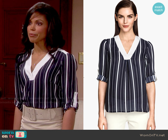 H&M V-neck Blouse in Dark Blue / Stripe worn by Karla Mosley on The Bold & the Beautiful