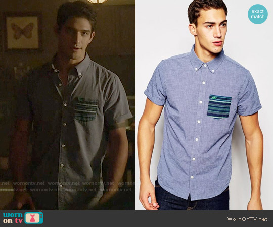 Hollister Shirt with Contrast Pocket Short Sleeves worn by Tyler Posey on Teen Wolf