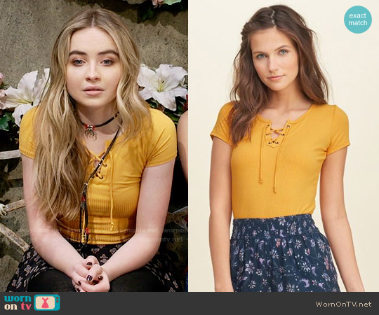 Hollister Lace-Up Tee worn by Sabrina Carpenter on Girl Meets World