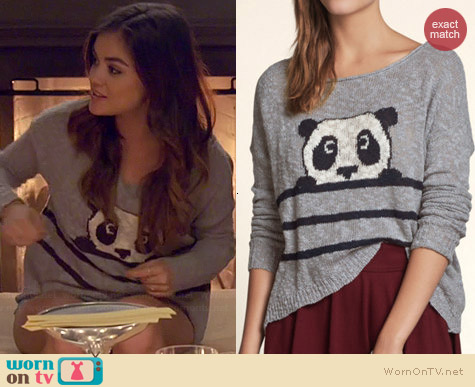Hollister Oceanside Intarsia Panda Sweater worn by Lucy Hale on PLL