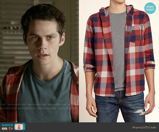 Hollister Plaid Hoodie Shirt worn by Dylan O'Brien on Teen Wolf