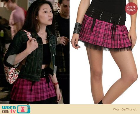 Royal Bones Pink Plaid Lace Up Mini Skirt worn by Arden Cho on Teen Wolf