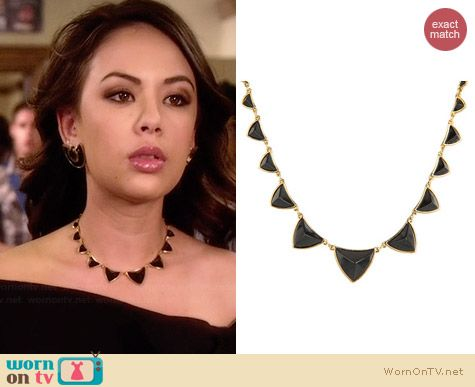 House of Harlow 1960 Pyramid Station Necklace worn by Janel Parrish on PLL