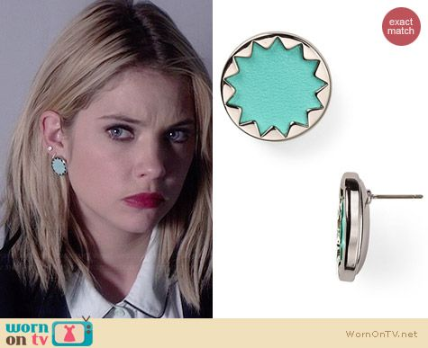 House of Harlow Sunburst Button Earrings in Robin's Egg / Silver worn by Ashley Benson on PLL