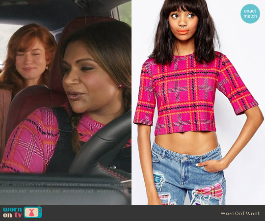 House of Holland Tartan Crop T-shirt worn by Mindy Kaling on The Mindy Project
