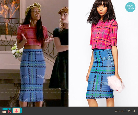 House of Holland Tartan Crop T-shirt and Tube Skirt worn by Keke Palmer on Scream Queens