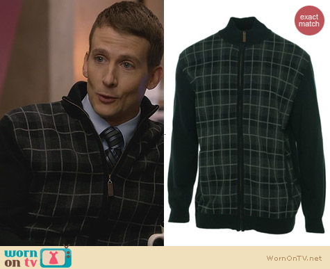 House Of Lies Fashion: Tasso Elba Mens Plaid Front Zip Cardigan worn by Brad Schmidt