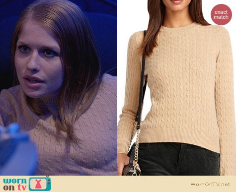 House of Lies Fashion: Brooks Brothers Cable Knit Sweater worn by Genevieve Angelson