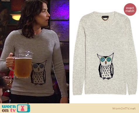 How I Met Your Mother Fashion: Burberry Prorsum cashmere owl sweater worn by Cobie Smulders