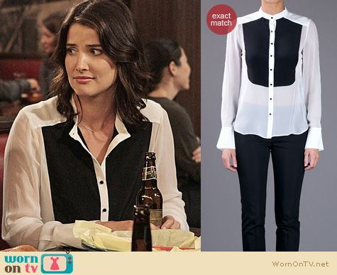 How I Met Your Mother Fashion: Elizabeth and James colorblock shirt worn by Cobie Smulders