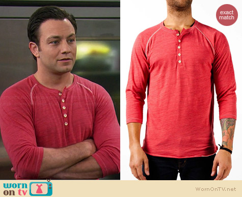Howe Butta Cup Henley in Monaco Red worn by Jonathan Sadowski on Young & Hungry