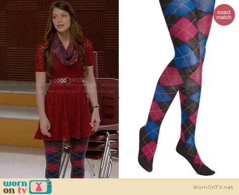 Hue Argyle Tights worn by Melissa Benoist on Glee