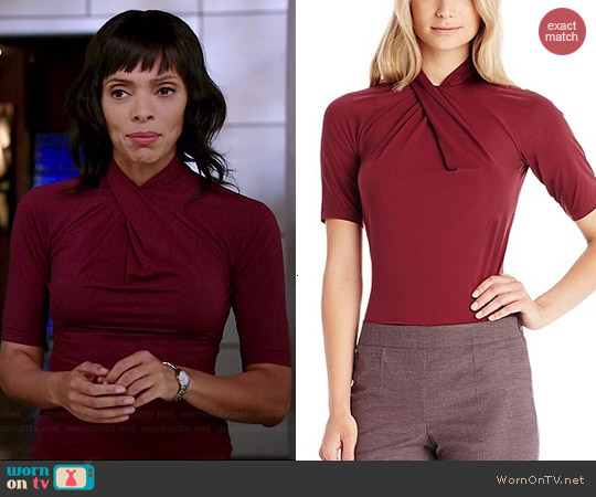 Hugo Boss E4792 Stretch Jersey Cross Front Blouse worn by Tamara Taylor on Bones