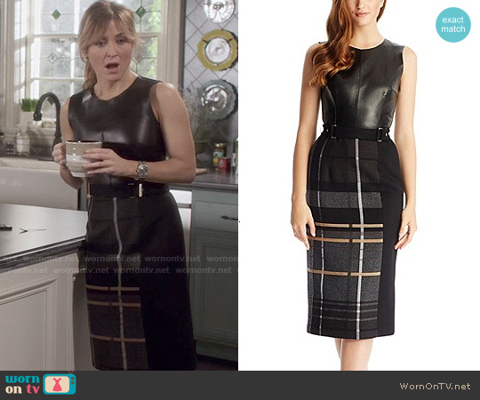 Hugo Boss 'FS_LE865' Leather and Virgin Wool Blend Textured Plaid Dress worn by Sasha Alexander on Rizzoli & Isles