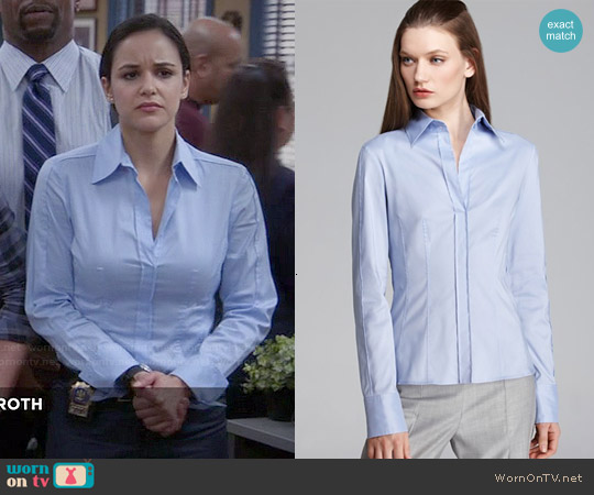 Hugo Boss Bashina Blue Classic Shirt worn by Melissa Fumero on Brooklyn Nine-Nine