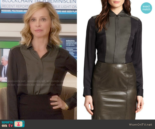 Hugo Boss Bevisa Blouse worn by Calista Flockhart on Supergirl