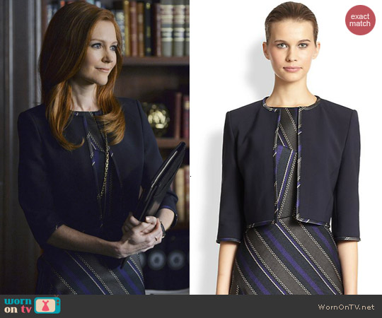 Hugo Boss Contrast Trimmed Cropped Jacket worn by Darby Stanchfield on Scandal