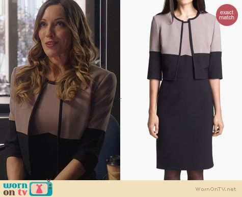 Hugo Boss Dalota Dress and Jimona Jacket worn by Katie Cassidy on Arrow