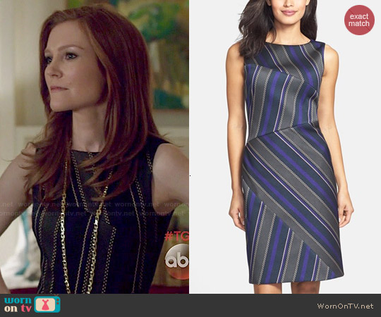 Hugo Boss 'Delmira' Stripe Front Sheath Dress worn by Darby Stanchfield on Scandal