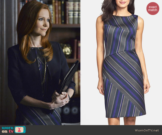 Hugo Boss Delmira Stripe Sheath Dress worn by Darby Stanchfield on Scandal