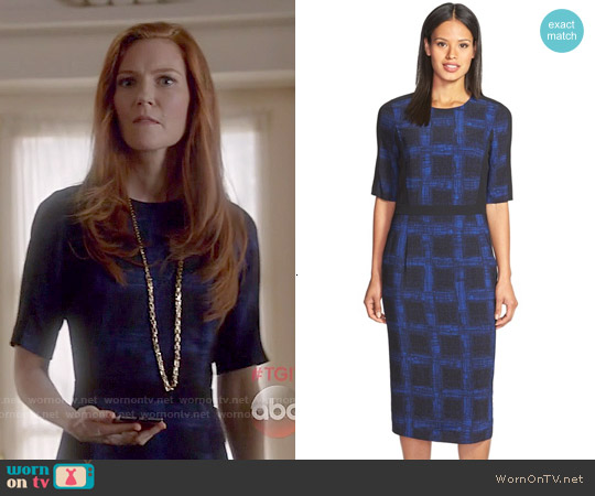 Hugo Boss 'Dikana' Windowpane Print Sheath Dress worn by Darby Stanchfield on Scandal